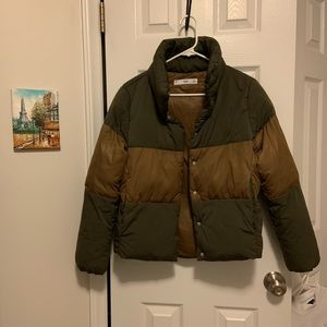 New Mango Zara Green Puffer Jacket Coat